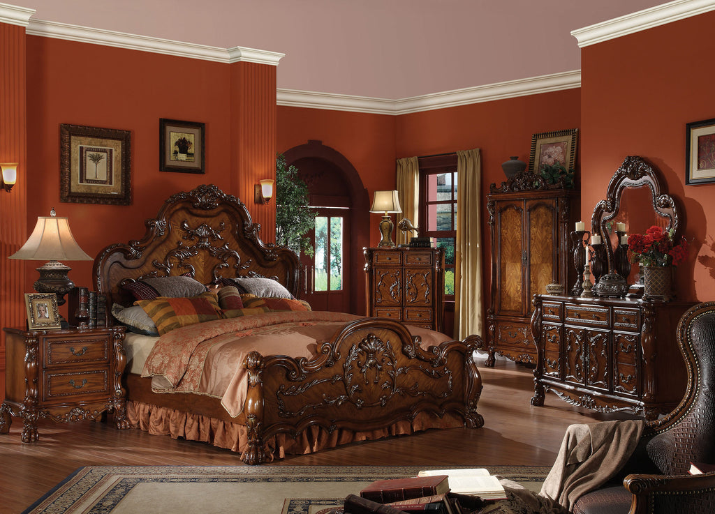 AC12140Q TRADITIONAL DRESDEN 4PCS CHERRY OAK SLEIGH BEDROOM SET