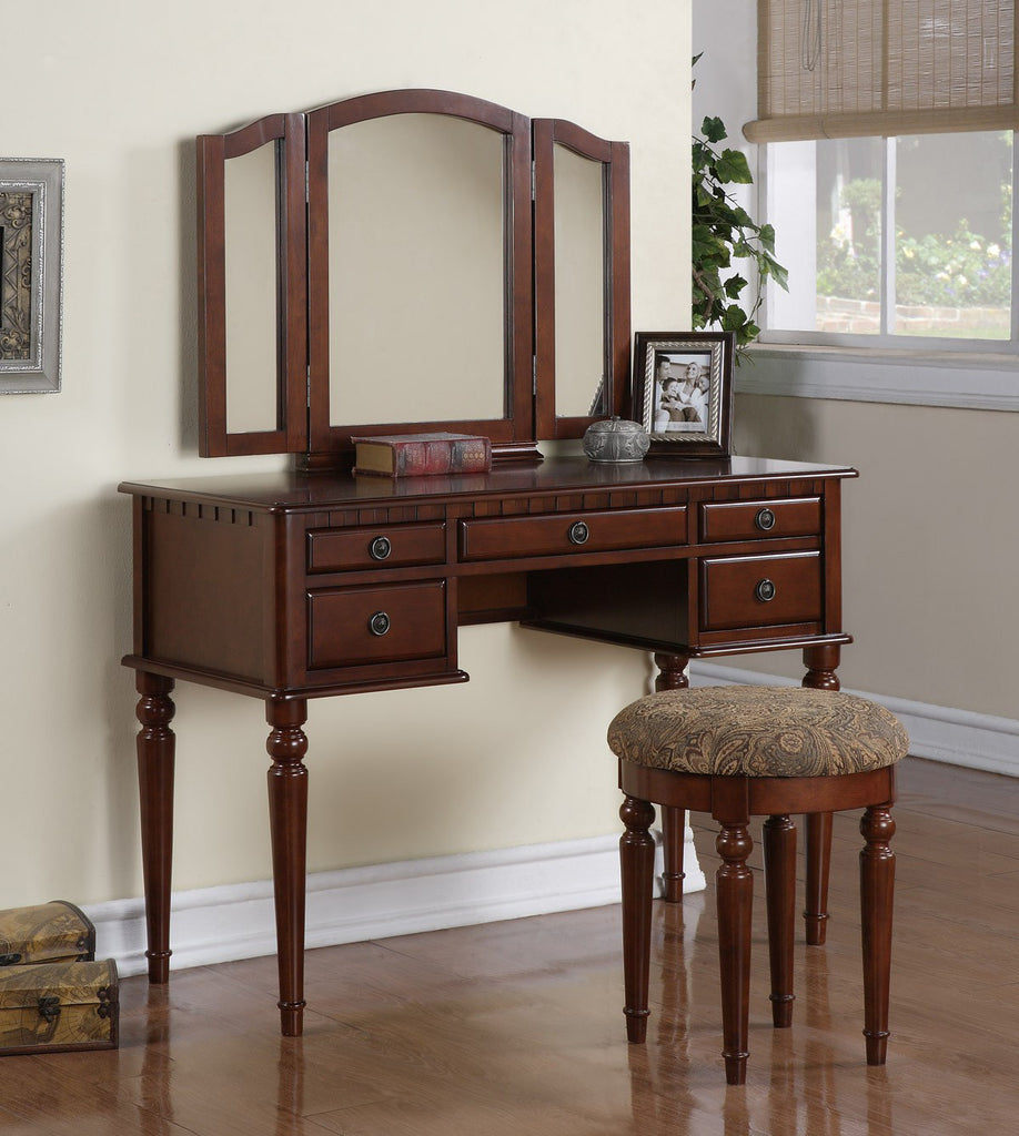 CHERRY VANITY SET WITH TRI MIRROR AND STOOL F4071