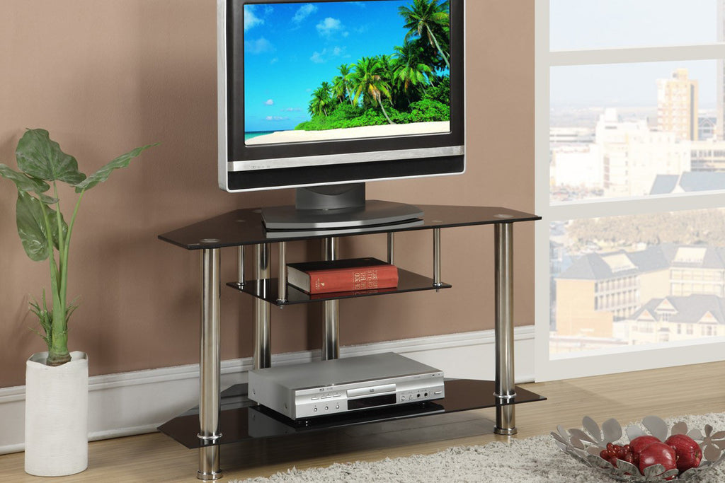 F4294 Black Triangular Tv Stand With Glass Shelves Vans Furniture