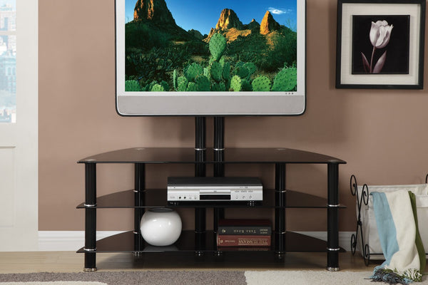 F4299 3 Shelf Black Glass Tv Stand With Mount Vans Furniture