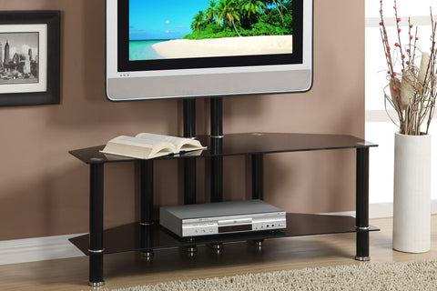 F4299 3-SHELF BLACK GLASS TV STAND WITH MOUNT