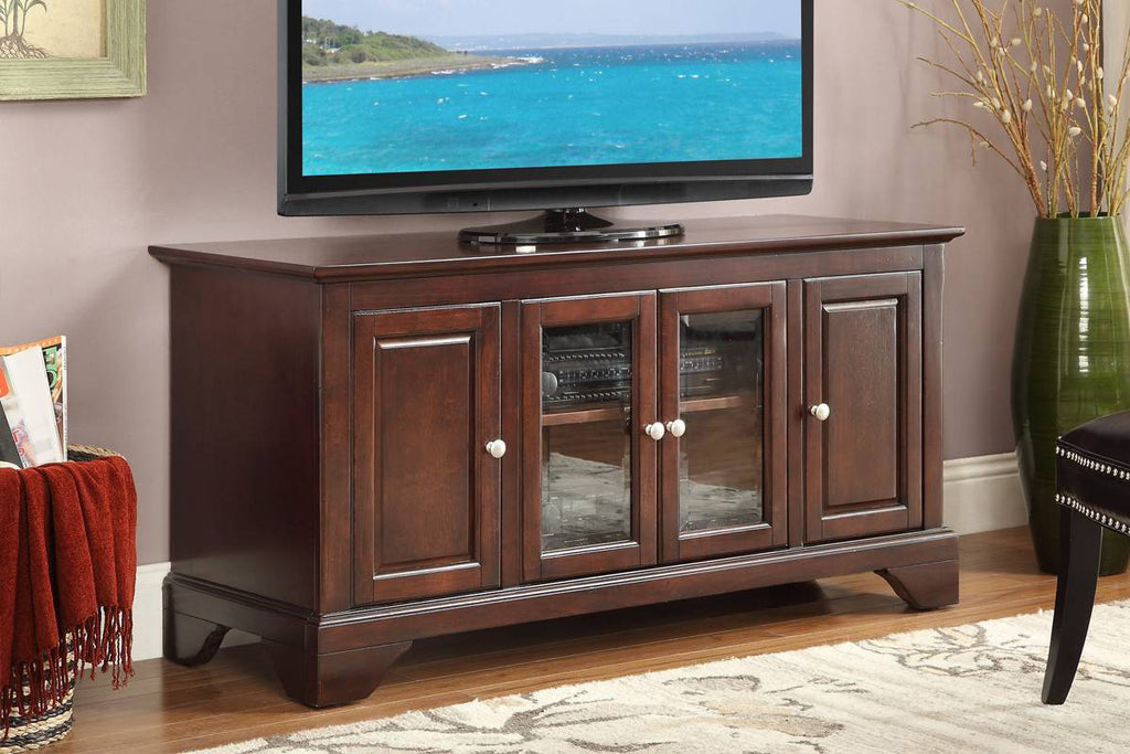 Poundex F4546 Cherry Wood Tv Stand Vans Furniture
