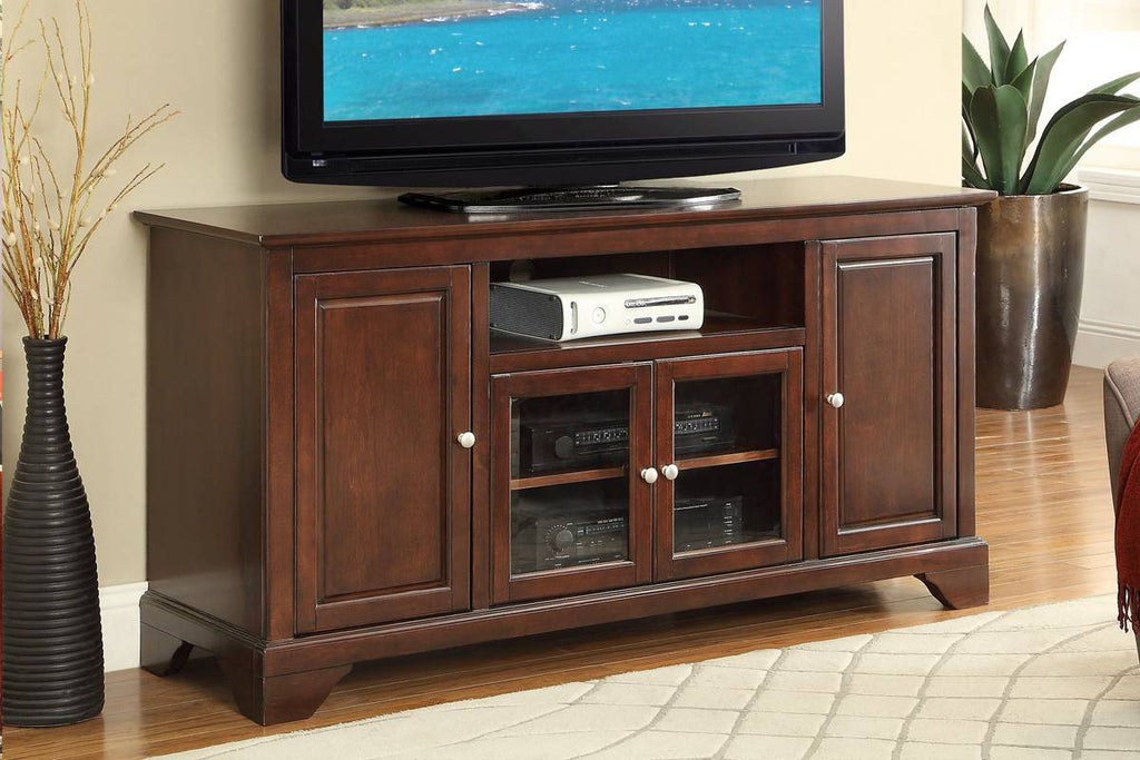 poundex f4547 cherry wood tv stand
