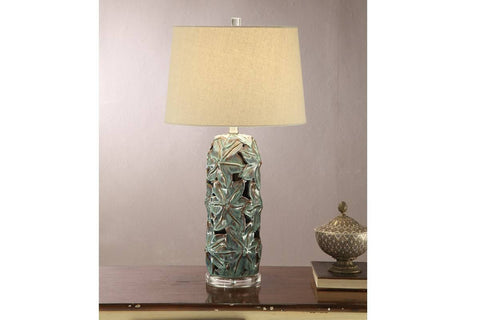 F5371 BLUE CERAMIC LAMP SET OF 2