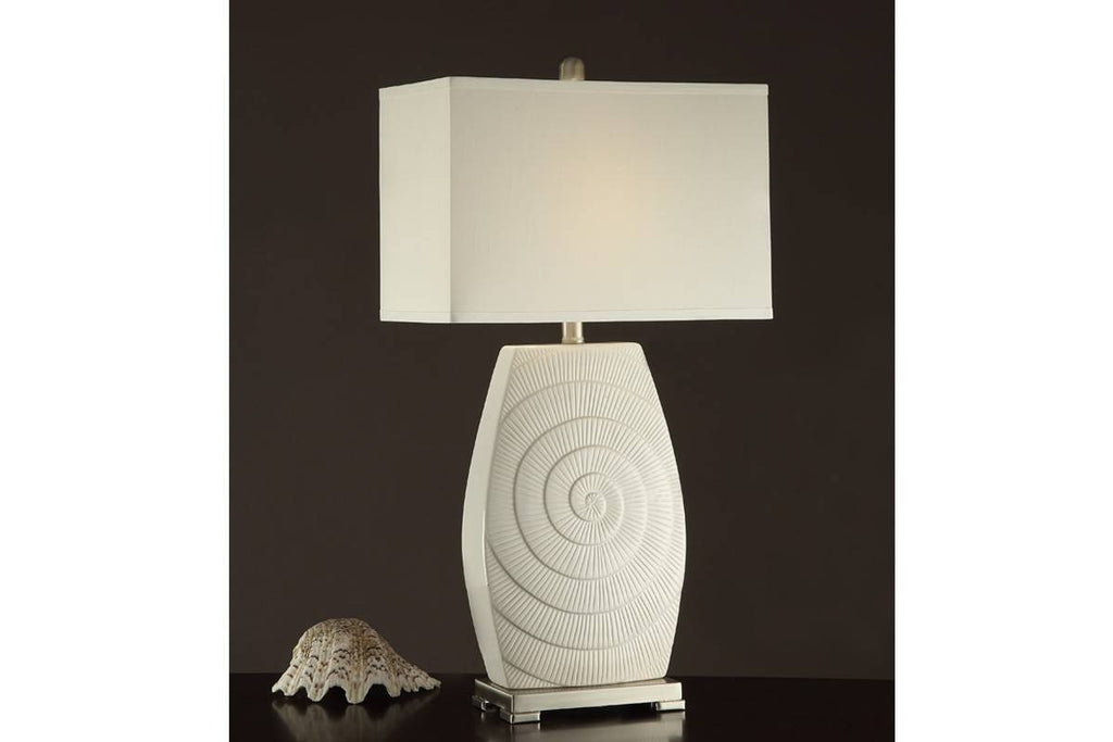 F5375 WHITE CERAMIC LAMP SET OF 2