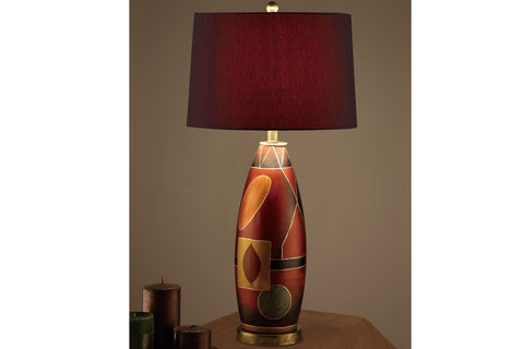 F5346 RED POLYRESIN TABLE LAMP SET OF 2