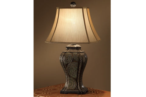 F5337 30'' ACCENT TABLE LAMP WITH TAN BELL SHADE SET OF 2