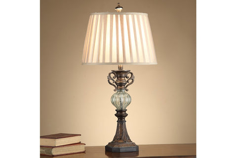 F5357 BROWN POLYRESIN TABLE LAMP SET OF 2