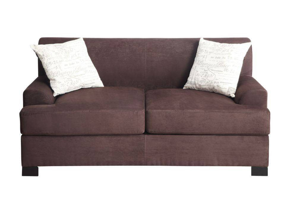 CHOCOLATE LOVESEAT WITH 2 PILLOWS PD7980