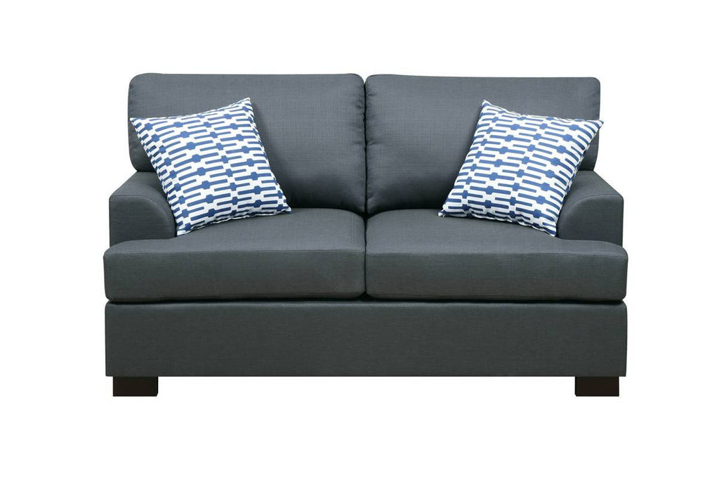 SLATE BLACK LOVESEAT WITH 2 PILLOWS PD7991