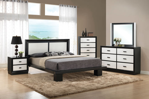 ACME 20610Q DEBORA 4PCS BLACK AND WHITE QUEEN PLATFORM BEDROOM SET