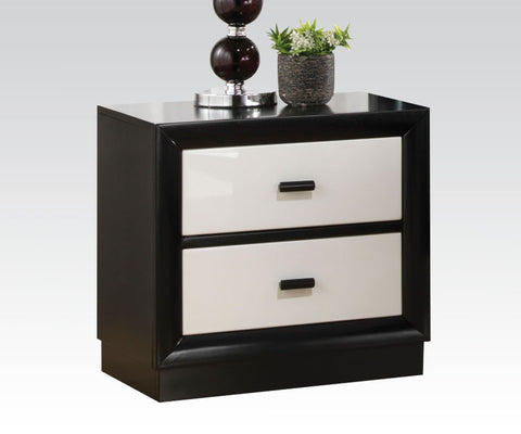ACME 20613 DEBORA BLACK AND WHITE 2 DRAWERS NIGHT STAND