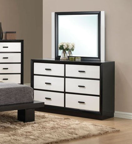 ACME 20615-4 DEBORA BLACK WHITE 6 DRAWERS DRESSER AND BEVELED MIRROR
