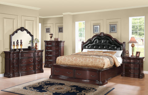 AC20622 VERADISIA 4PCS DARK CHERRY STORAGE BEDROOM SET