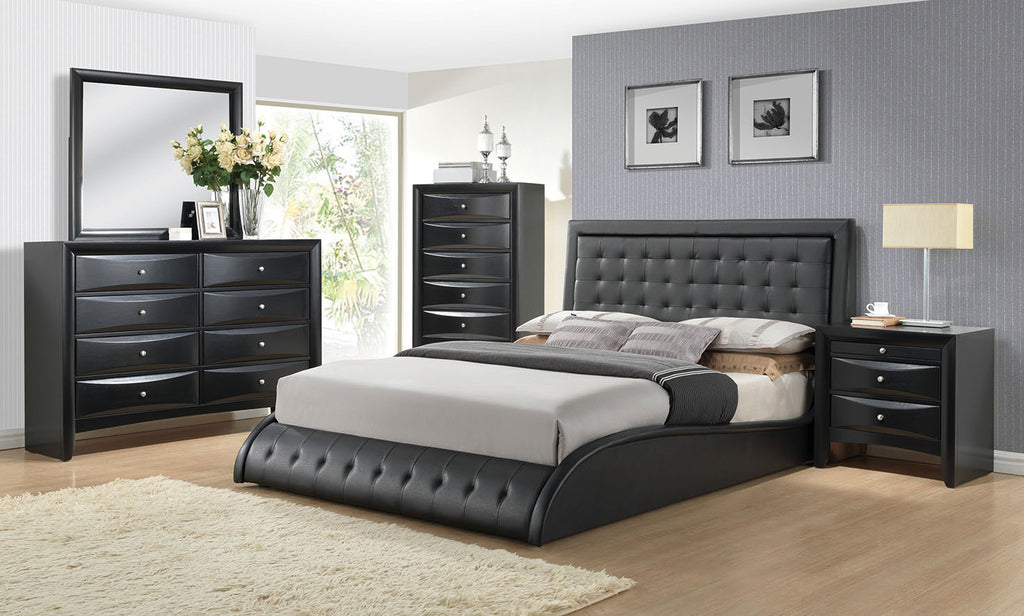 ACME 20660Q 4PCS TIRREL 4PCS BLACK PU WOOD QUEEN BEDROOM SET – Sleep ...