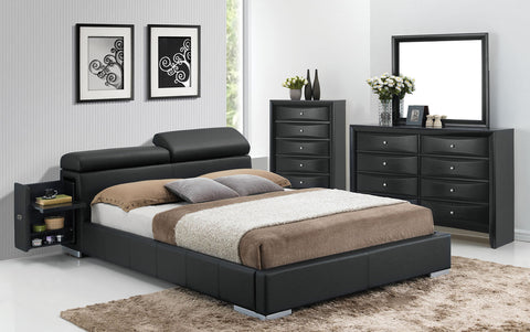 ACME 20750Q MANJOT 4PCS BLACK PU STORAGE QUEEN BEDROOM SET