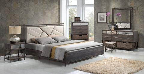 ACME 20950Q ADRIANNA 4PCS WALNUT QUEEN BEDROOM SET WITH BASKETS
