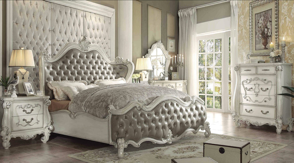 AC21144 4PCS VERSAILLES VINTAGE GRAY BONE WHITE SLEIGH BED