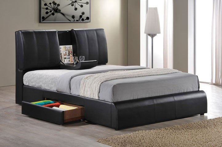 AC21270Q KOFI BLACK PU QUEEN STORAGE HEADBOARD BED & AC21270Q KOFI BLACK PU QUEEN STORAGE HEADBOARD BED u2013 Sleep ...