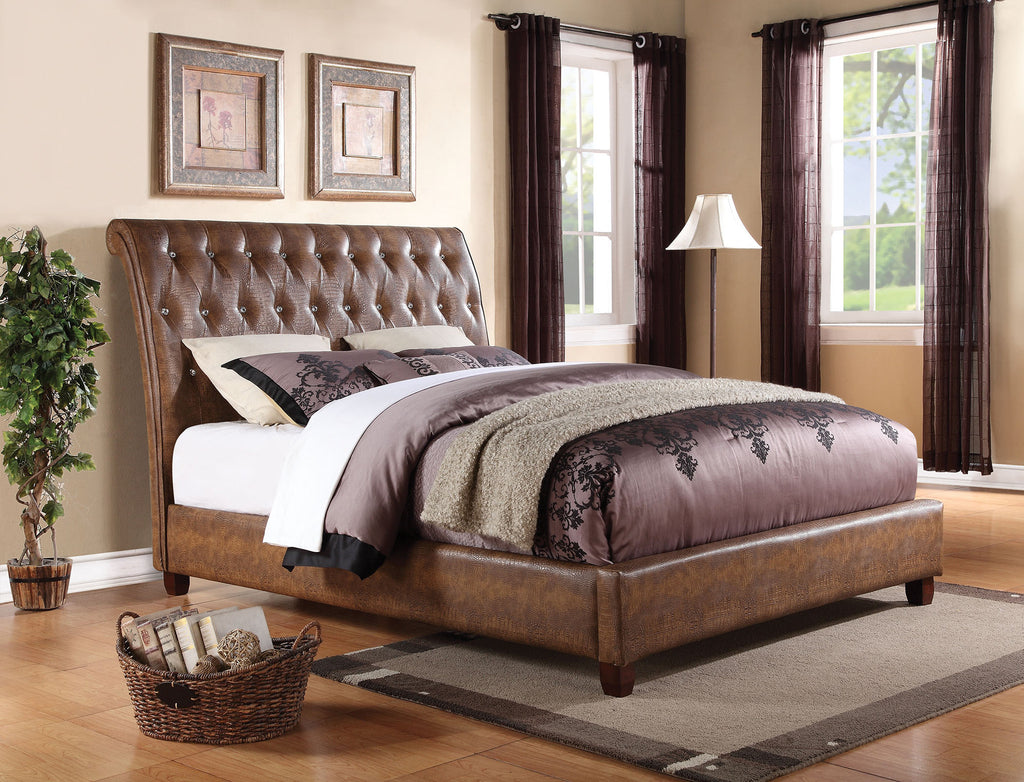 ACME 22850Q PITNEY TWO TONE BROWN CROCODILE PU QUEEN BED