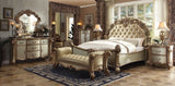 AC22994 VENDOME 4PCS GOLD PLATINA BONE SLEIGH BEDROOM SET