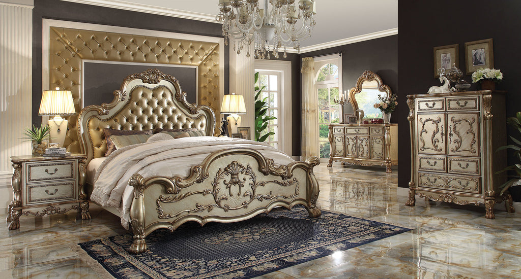 AC23160Q TRADITIONAL DRESDEN 4PCS GOLD PATINA BONE BEDROOM SET