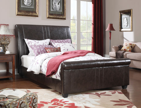 ACME 24340Q OSBORN ESPRESSO PU LEATHER QUEEN SLEIGH BED