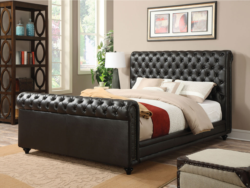 ACME 24370Q NORRIS ESPRESSO PU LEATHER QUEEN SLEIGH BED