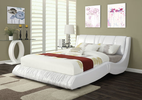 ACME 24650Q NATHAN WHITE BYCAST PU QUEEN BED