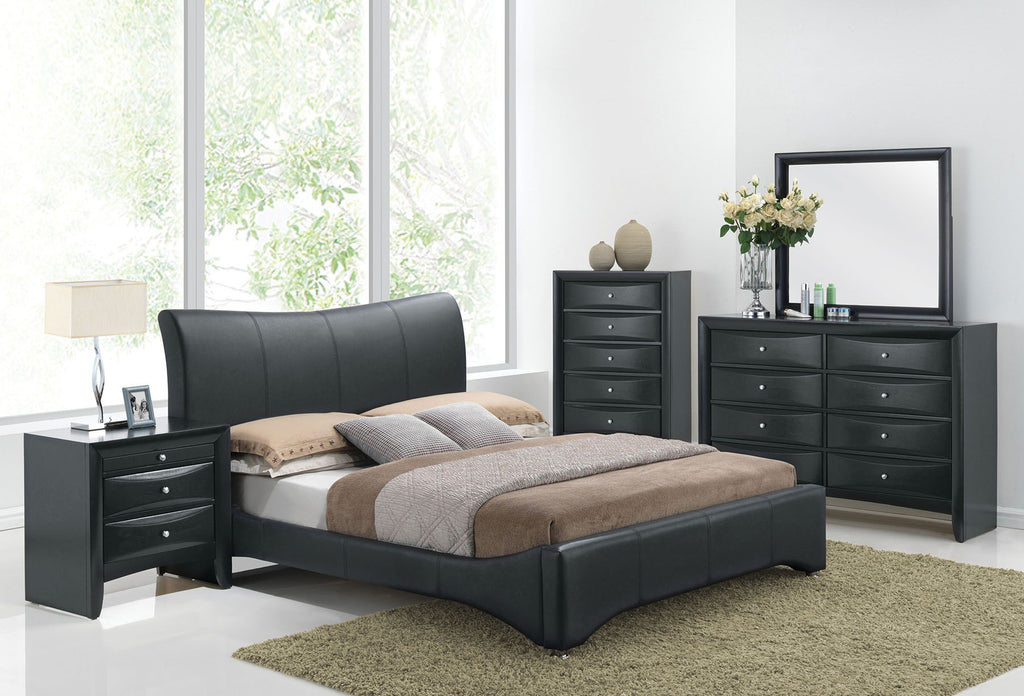 ACME 24660Q HARRISON 4PCS BLACK PU WOOD QUEEN PLATFORM BEDROOM SET