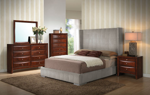 ACME 24680Q MELISSA 4PCS GRAY VELVET WOOD QUEEN BEDROOM SET