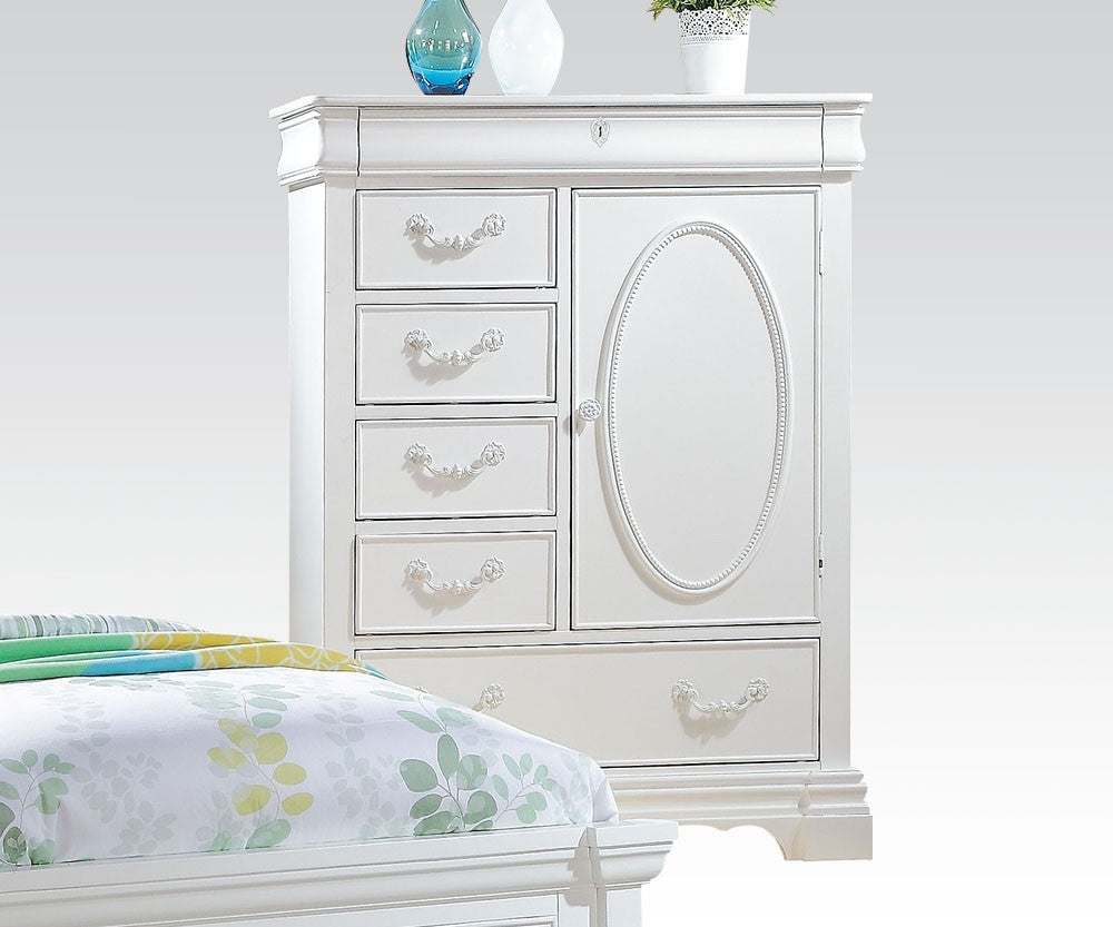 AC30246 ESTRELLA GIRLS WHITE 5-DRAWER DOOR CHEST