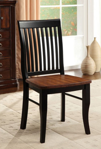 EARLHAM FOA-CM3101SC TRANSITIONAL ANTIQUE OAK BLACK SIDE CHAIR SET OF 2