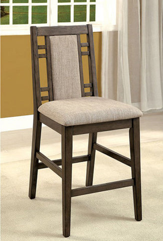 ERIS II FOA-CM3213PC TRANSITIONAL WEATHERED GRAY COUNTER HEIGHT CHAIR SET OF 2