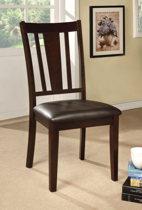 FOA-CM3325SC BRIDGETTE I LEATHERETTE ESPRESSO FINISH DINING CHAIR SET OF 2