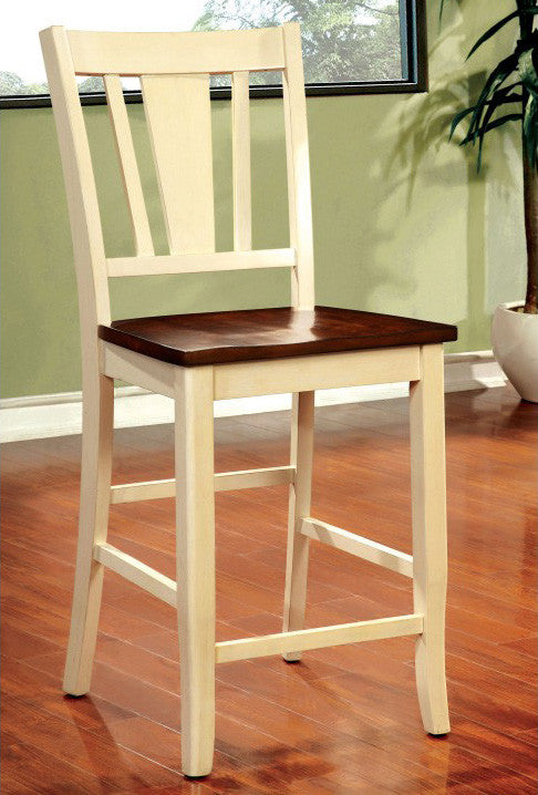 DOVER FOA-CM3326WC-PC 2PCS TRANSITIONAL WHITE CHERRY COUNTER HEIGHT CHAIRS