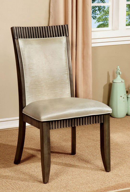 FORBES I FOA-CM3435SC TRANSITIONAL GRAY FINISH SIDE CHAIR SET OF 2