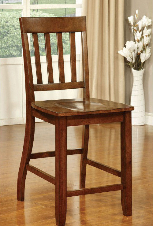 FOSTER II FOA-CM3437PC TRANSITIONAL DARK OAK COUNTER HEIGHT CHAIR SET OF 2