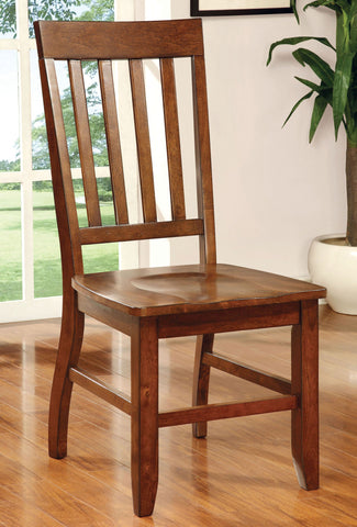 FOSTER I FOA-CM3437SC TRANSITIONAL DARK OAK FINISH SIDE CHAIR SET OF 2