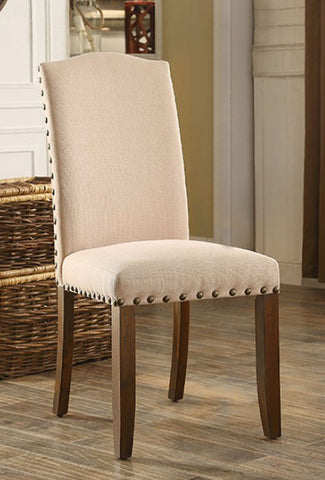 BRENTFORD FOA-CM3538SC TRANSITIONAL IVORY FABRIC WOOD SIDE CHAIR