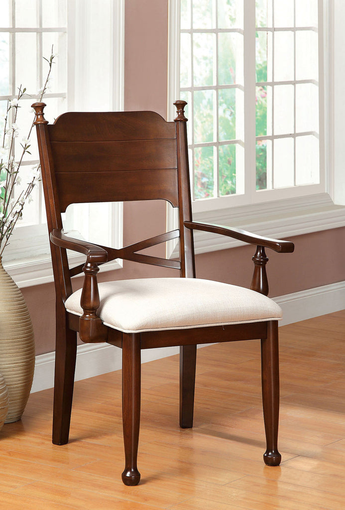 DESCANSO FOA-CM3558AC TRANSITIONAL BROWN CHERRY ARM CHAIR SET OF 2