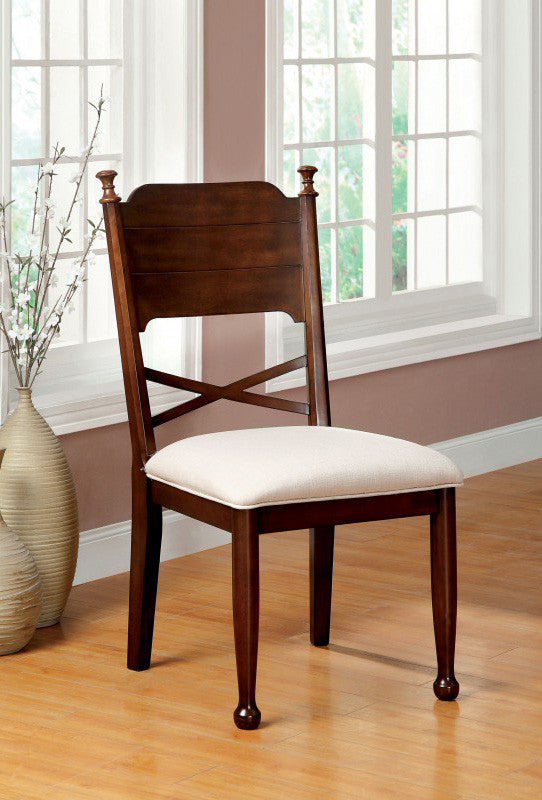 DESCANSO FOA-CM3558SC TRANSITIONAL BROWN CHERRY SIDE CHAIR SET OF 2