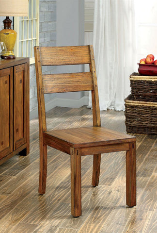 FRONTIER FOA-CM3603SC TRANSITIONAL DARK OAK FINISH SIDE CHAIR SET OF 2