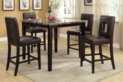 CONTEMPORARY 5PCS FAUX MARBLE SQUARE COUNTER HEIGHT DINING SET F2339
