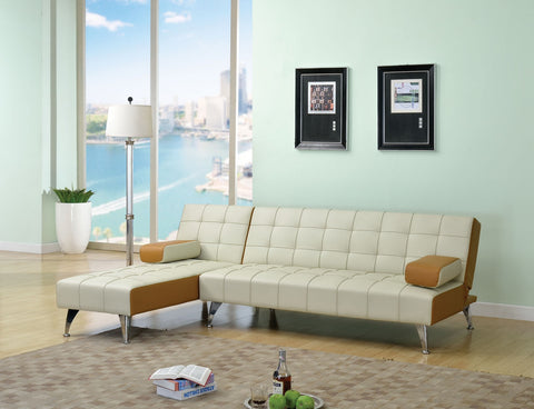 AC57140 LYTTON 2PCS BEIGE BROWN ADJUSTABLE SOFA SECTIONAL CHAISE