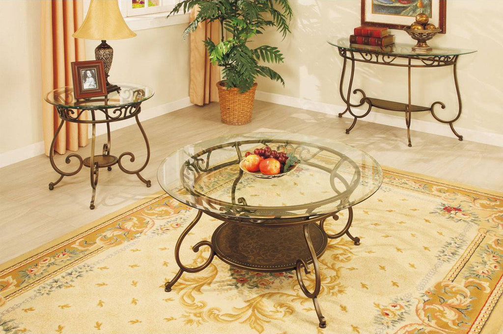 POUNDEX F6021 GLASS TOP ROUND COFFEE TABLE WITH METAL FRAME