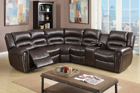 BLACK BONDED LEATHER MOTION SECTIONAL CUP HOLDER PD6743