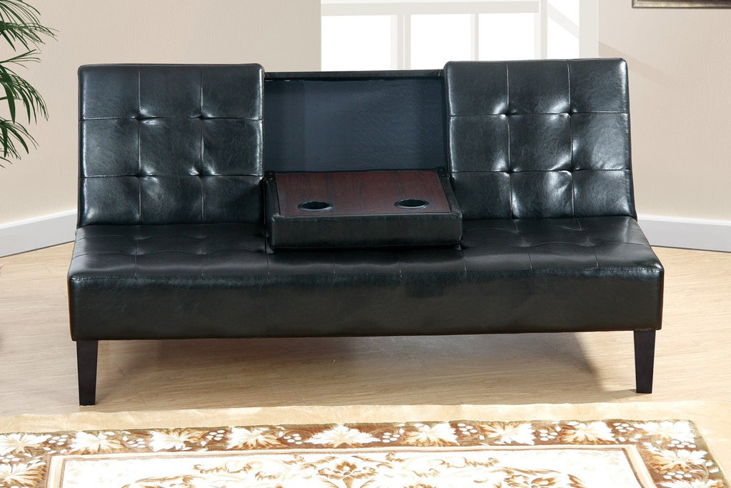 BLACK FAUX LEATHER ADJUSTABLE SOFA BED FUTON PD7209