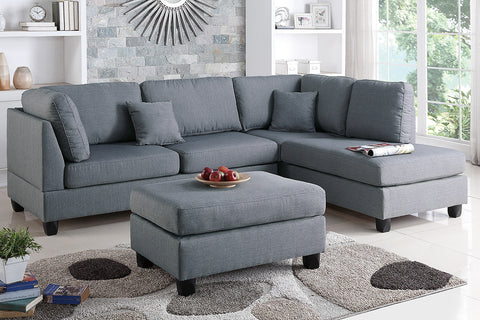 3PCS SAND FABRIC REVERSIBLE CHAISE SECTIONAL SOFA SET PD7605