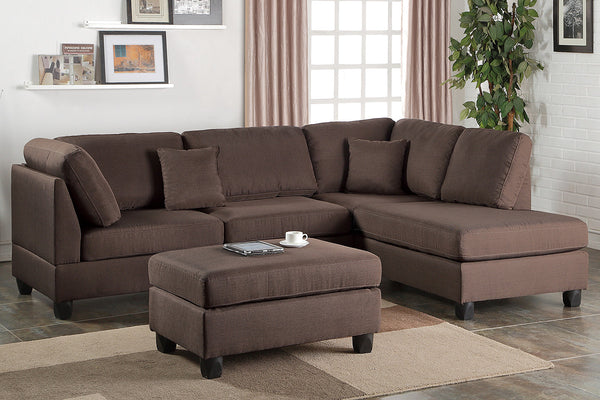 3pcs Sand Fabric Reversible Chaise Sectional Sofa Set